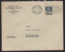 SUISSE SWITZERLAND 1930 Commercial Cover w SLOGAN pmk LAUSANNE COMPTOIR SUISSE