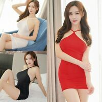 Sexy Women Mini Dress See Transparent Halter Backless Clubwear Bodycon Dress