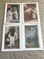 French Vintage Postcard Card Lot Of 4 Random Cards Collectible Rare Very Good