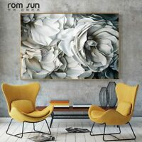 Big White Rose Canvas Painting Wall Art Pictures For Living Room Home Decoration