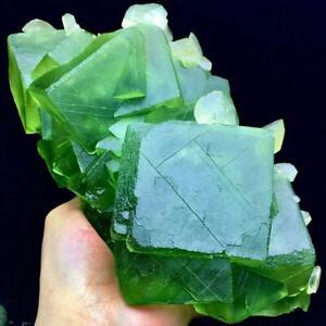 2855g Larger Particles Translucent Deep Green Cubic Fluorite & Mercedes Calcite