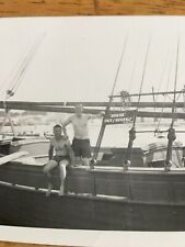 Vintage 1940's Snapshot Photo Gay Interest Men Bathing Suits On Boat