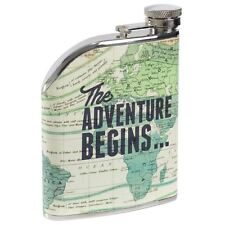 Cartography Hip Flask Stainless Steel 6 oz. Map Print Leather Effect Wild & Wolf