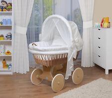 WALDIN Baby Bollerwagen,Stubenwagen, komplett mit Zubehör, XXL, Stoffe Weiß