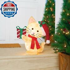 "Outdoor Yard Decor Light-Up Plush Cat 22"" Christmas Decorations Xmas Holiday"