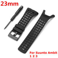 23mm Replacement Black Silicone Rubber Watch Band Strap for Suunto Ambit 1 2 3