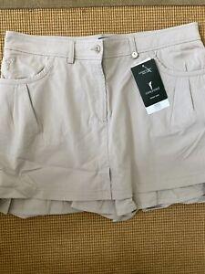 NWT Golfino Ladies Shiny Techno Stretch Mini Skirt 8268122 149 Taupe Sz 12 NEW