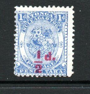 Tonga, 1/2d on 1d bright ultramarine, SG 15, MH, 1893