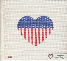New Hand Painted Needlepoint canvas- Patriotic Heart - Free shipping