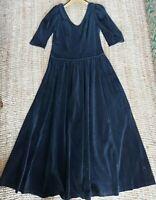 Black velvet Dress Long Maxi MONSOON Uk 10/12 vintage made in England