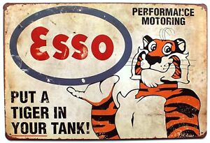 Esso Motoring Put A Tiger In Your Tank Retro Metal Wall Door Sign  30 x 20 cm