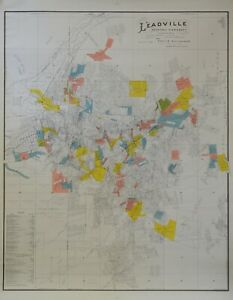 Leadville mining district claims map by Chas Sanders dated 1901 in color #2