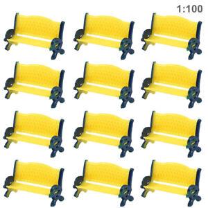 12pcs Model Train Platform Park Street Bench Chair Settee 1:100 HO TT Scale