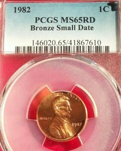 1982 BRONZE SMALL DATE PCGS MS65RD LINCOLN CENT