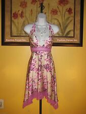 NWT bebe $139  Silk & Lace Trim Floral Halter Dress Size S