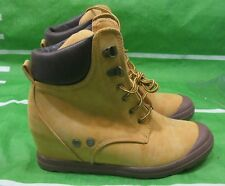 """new ladies wheat 2.5""""hidden Wedge Heel Round Toe lace up Ankle Boots Size 8"""
