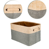 Collapsible Storage Basket Foldable Canvas Linen Fabric Tweed Cube Bin New NP2Z
