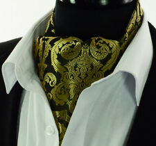 Luxury Gold Mens Silk Cravat Ascot Tie Brown Black Paisley Scarf A46