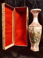 "Chinese Zhon Guo Jingdezhen Zhi Eggshell Porcelain Vase Urn W/Box C-1940 8"" H"
