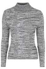 Topshop Ribbed Roll Neck Jumper - Monochrome - UK 12/EU 40/US 8 - RRP £25 - New