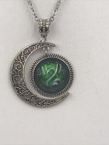 High Polished Harry Potter Necklace Prop Slytherin Moon Pendant