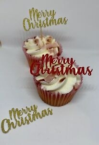 12 MERRY CHRISTMAS GLITTER CUPCAKE TOPPERS PICKS SILVER GOLD COLOURS CAKE TOPPER