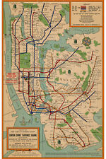NYC Subway Map; 1954 New York Union Dime Savings Bank Archival Reproduction