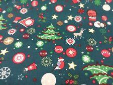 Christmas Mix on green tree star robin sock Fat quarter free p&p, 100% cotton.