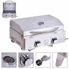 2 Burner Portable Stainless Steel BBQ Table Top Propane Gas Grill Outdoor Camp