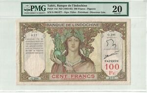 Tahiti 100 Francs - Papeete 1963-65 Pick# 14d PMG: 20 Very Fine. (#1684)