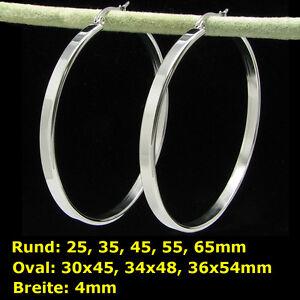 1 Paar Edelstahl Creolen Rund oder Oval Breite:4mm ver. Größe  #1333026