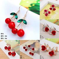 Elegant Women Crystal Pearl Flower Ear Stud Earrings Wedding Party Charm Jewelry