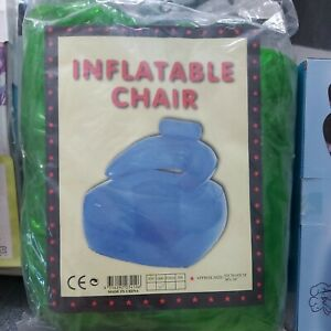 Retro GREEN Inflatable Adults Chair Vintage Rare 90`s Toy Blow Up couch floaty