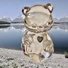 Fenton Art Glass Clear Crystal Bear MARCH BIRTHDAY Blue Birthstone Heart