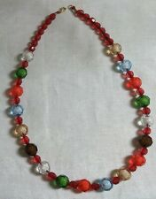 "Vintage Goldtone Metal Faceted Multi-Color Plastic Bead 24"" Necklace"