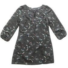 LAURA ASHLEY Bird Print Shift Dress 3/4 Sleeve Grey UK 8 Z5