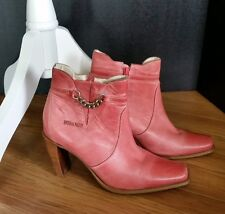 Ankle Boots Womens Durango Cowboy Size 7 Salmon Pink 3.5 inch Stacked Heel