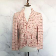 Lafayette 148 New York NWT Womens Petite Pink Tweed Jacket Blazer Size 4 Fringe