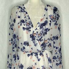 Cotton On Floral Romper S White Surplice Top Elastic Waist Long Sleeves Lined