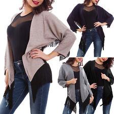 Cardigan donna coprispalle frange giacca maglione senza chiusura nuovo XD-1660