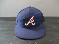 New Era Atlanta Braves Hat Cap Fitted 7 1/2 Blue Red MLB Baseball Mens A33