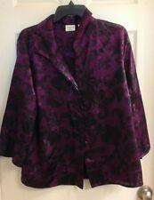 Covington,  women's plus size 16-18W, blouse, fushia  black paisley design