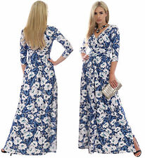 Polyester 3/4 Sleeve Floral Maxi Dresses for Women