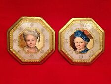 Vintage Hand Painted Portraits On Wood Italy