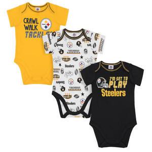 Pittsburgh Steelers NFL Infant Boys' 3-Pack Short-Sleeve Bodysuits 0-3 Months