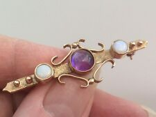 BEAUTIFUL EXCEPTIONAL VICTORIAN LARGE 15ct CABACHON AMETHYST AND OPAL BROOCH