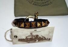Campomaggi Bracelet Black Leather Gold Single Pyramid Rivets Studs + Bag Box