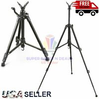 COMPACT TRIPOD Portable Shooting Stick GUN RIFLE REST Stand Hunting Adjustable