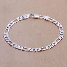 Bracelet maille figaro de plaqué argent 925 20 cm 6mm mixte homme femme