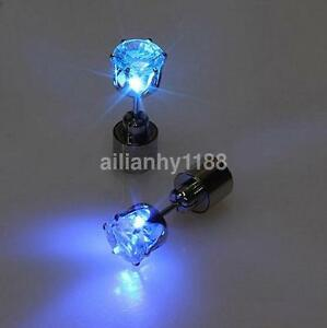 Men Women LED Earring Glow Light Up Bright Earring Ear Stud for Party Bar Hot Hy